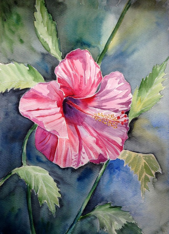 Original one of a kind watercolor artwork - The red tropical flower - Image 0
