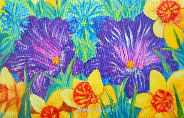 Stll Life Original Oil Painting with Yellow Purple and Blue Flowers - Image 0