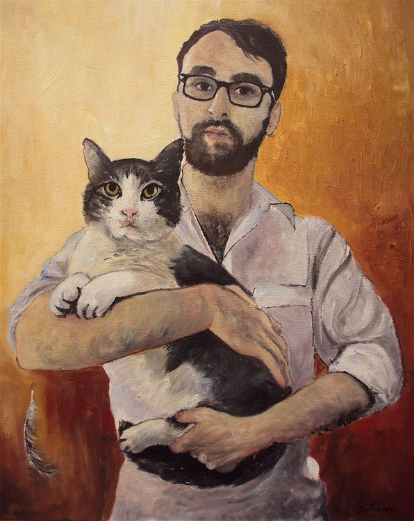Portrait of Young Man & his Cat - Image 0