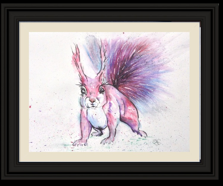 """""""Tufty"""", 11 X 15 inch watercolour mounted ready to frame - Image 0"""