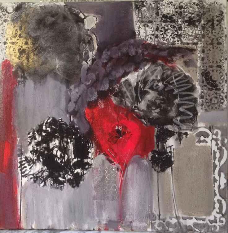Fleurs Abstract acrylic & Mixed media 100x100