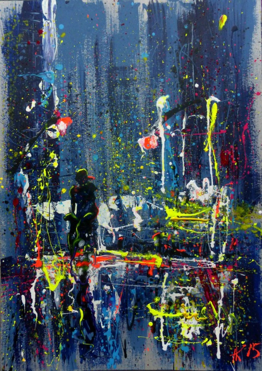 One night in the city, large painting 70x100 cm - Image 0