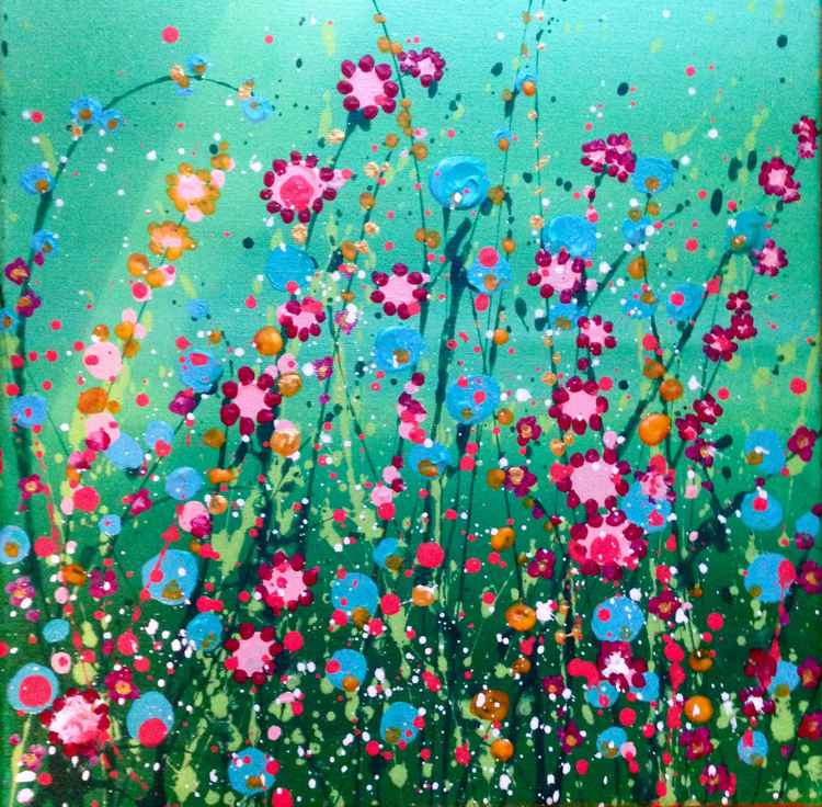 Aqua Wildflowers -