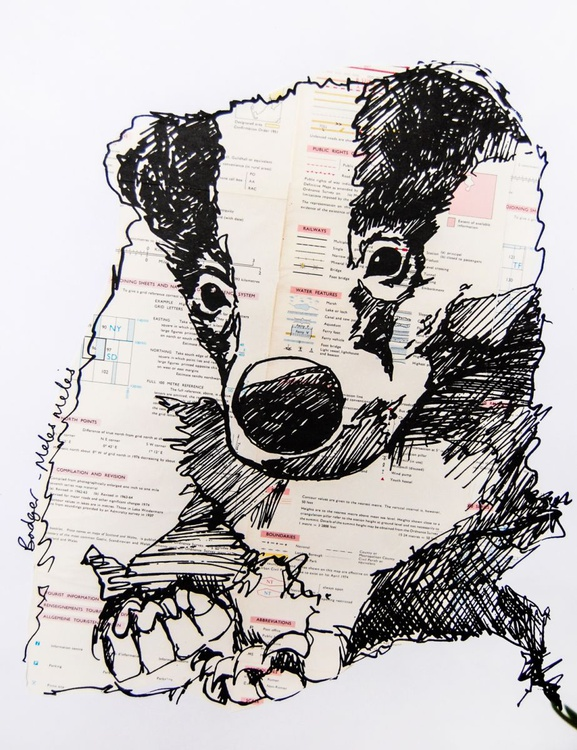 Badger screenprint with vintage map collage - Image 0