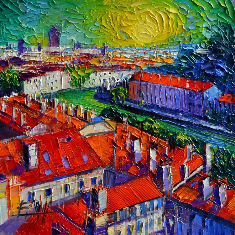 View over the city of Lyon France - contemporary impressionist palette knife oil painting - Image 0