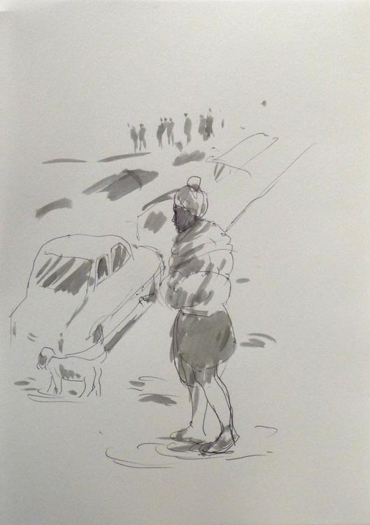Walking a dog, City Sketch #2, Paris, Montmartre 22x30 cm - Image 0