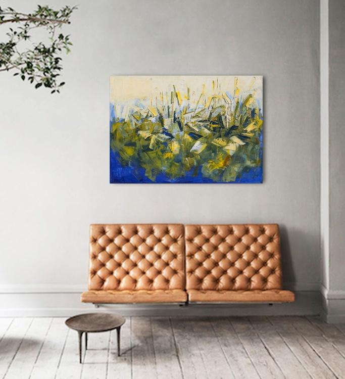 "Abstract painting ""Meadow IX"".100% authentic, oil painting on cotton canvas. Unique impasto texture.39.37/27.5(100/70cm). - Image 0"