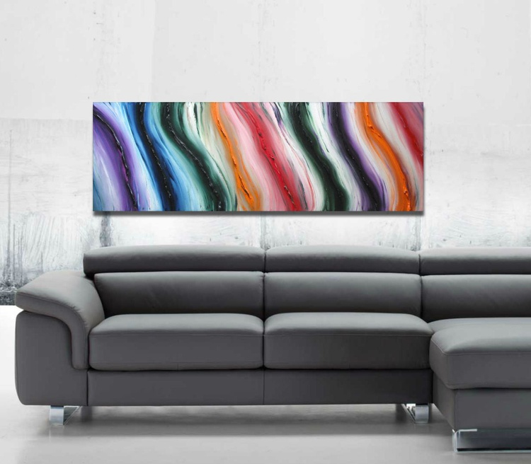 Pure Color - 120x40 cm, Original abstract painting, oil on canvas, - Image 0