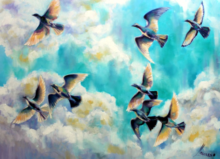 """Original oil painting of birds in the sky """"Freedom"""" - Image 0"""