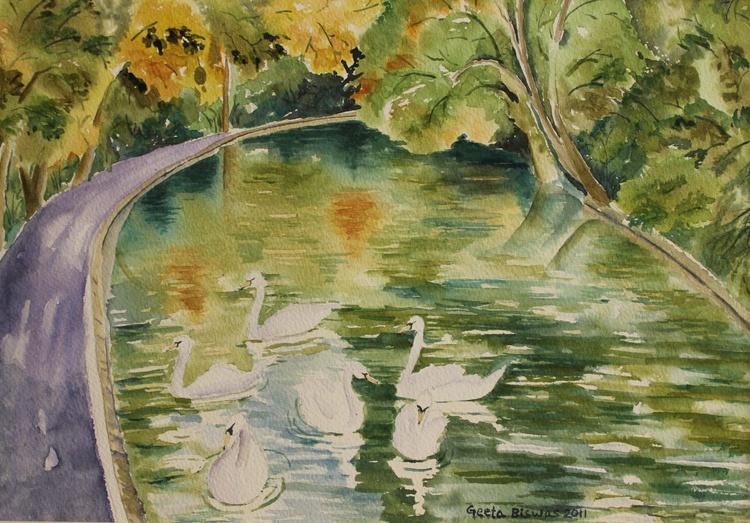 Swan in Rye park, watercolor, painting - Image 0