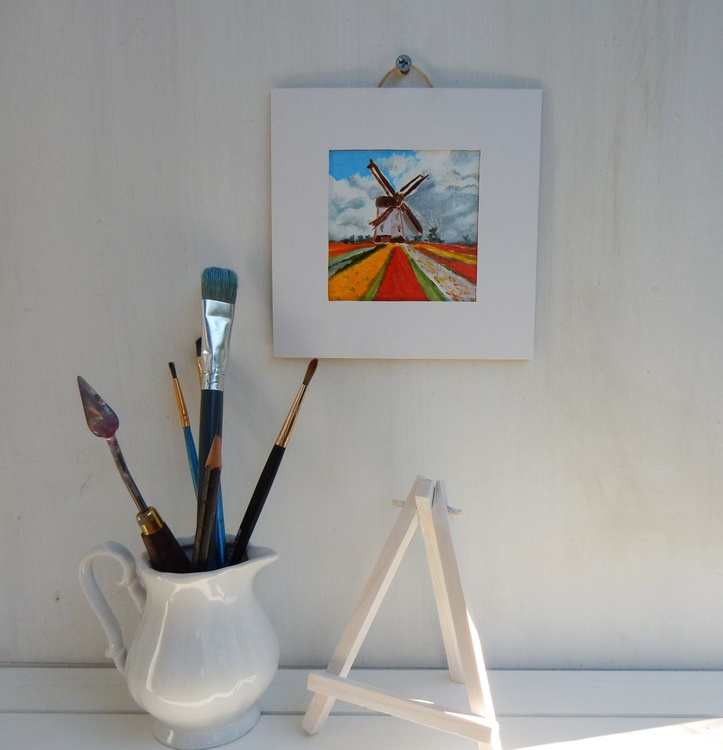 Tulip fields with wind mill in Holland. Landscape Miniature. Easel is included. Gift painting. Ready to hang. - Image 0