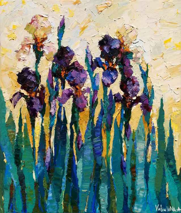 Irises floral painting .Original oil painting flower -