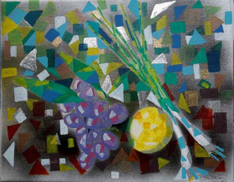 [467] Grapes and Lemon. Still life.