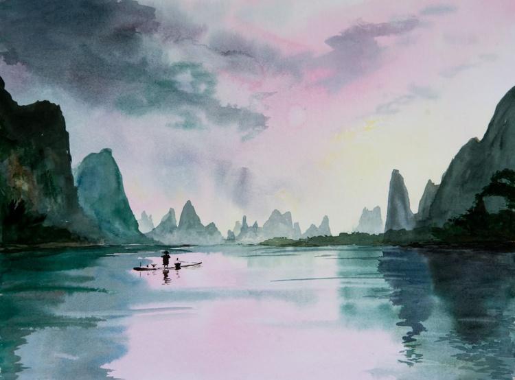 """hush"", original watercolour painting, 15.7""x11.8""(40x30cm), ready to hang - Image 0"