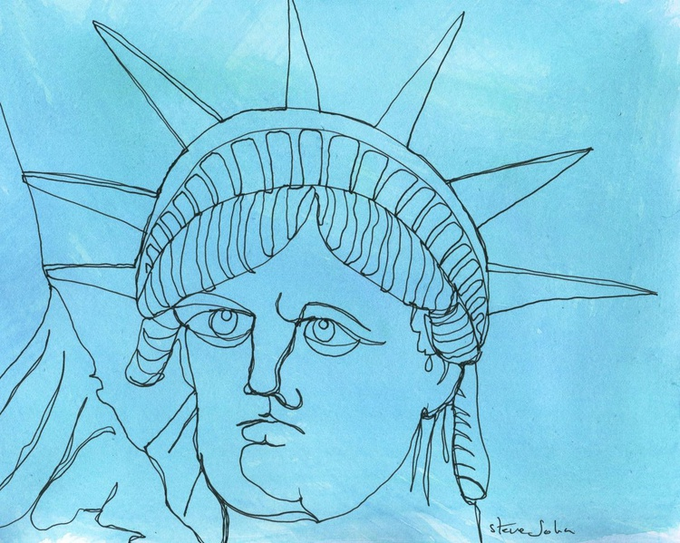 Statue of Liberty, close up. Continuous Lone drawing - Image 0
