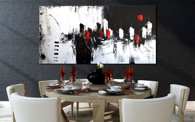 """"""" Casa Rosso"""" Large Painting On Canvas, abstract art, abstract canvas art, minimalist art, black, white and red art, Handmade black and white wall art - Image 0"""