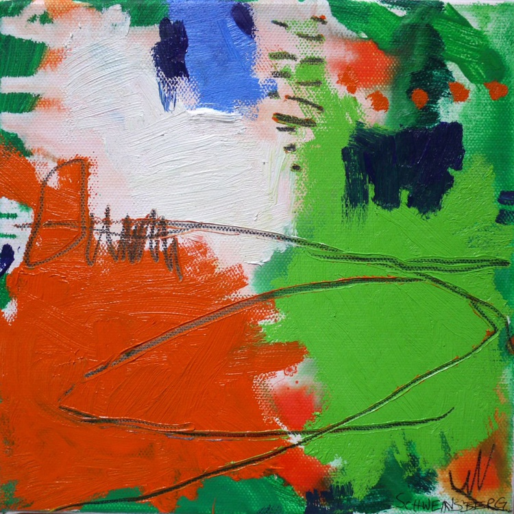 A Day at the Lake #4 | small abstract oil painting | orange - blue - green - Image 0