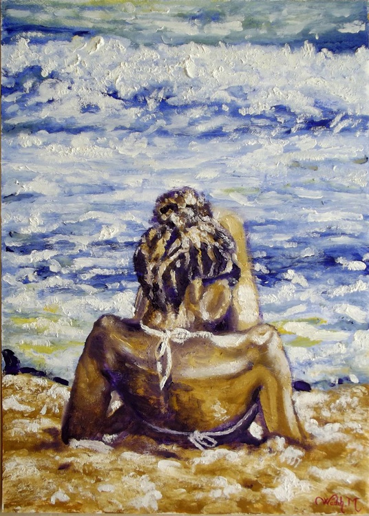 SITTING ON THE BEACH - Seascape view - Thick Oil Painting -  29.5x42 cm - Image 0