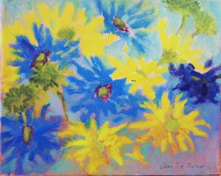 Blue and Yellow Fantasy Daisies