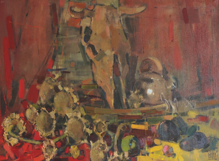 """""""Still life with a cow skull"""" Oil on canvas. 2015. - Image 0"""