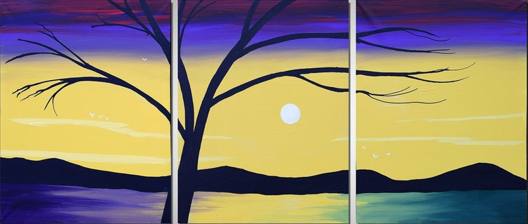 """new painting large wall abstract """"Lake of Colour"""" triptych large wall art canvas art Modern Palette Knife Painting 48 x 20"""" - Image 0"""