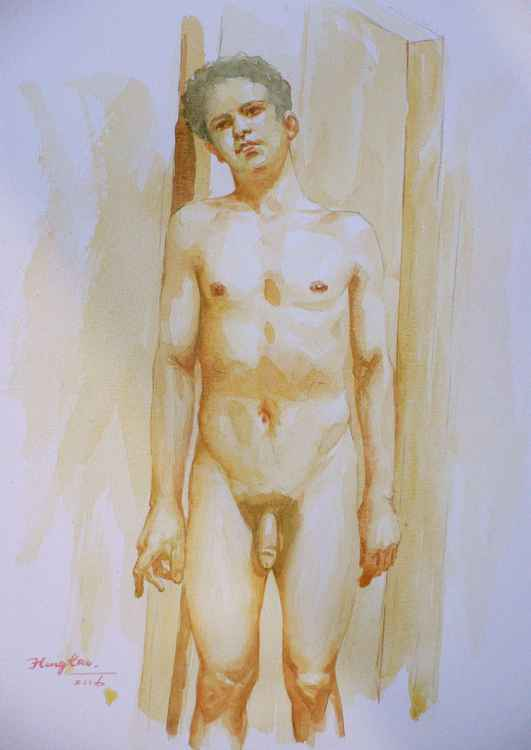 original watercolour painting art male nude young man on paper #16-2-24 -