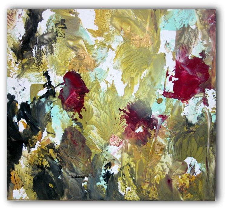 """""""Dancing Roses in a golden Sky"""" - Encaustic on Paper embellished with Goldleaf 12""""x12"""" - Image 0"""