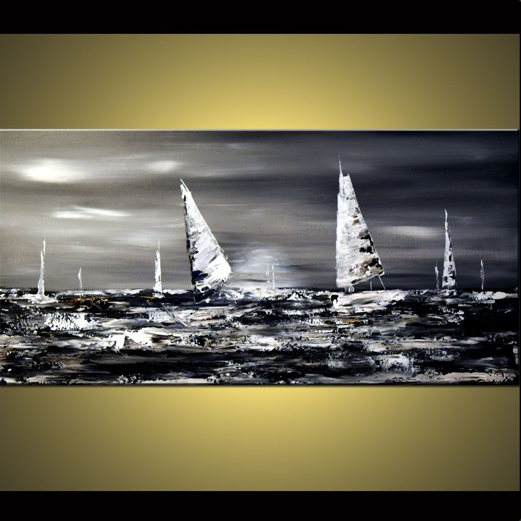 Sail with me - large abstract painting, seascape painting, grey painting, black, white and silver art, modern seascape painting ready to hang - Image 0