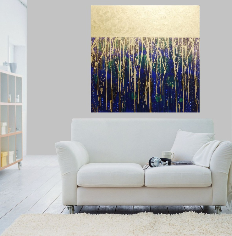 Sunny Rain on the lake-Large original abstract painting,blue,green.gold - Image 0
