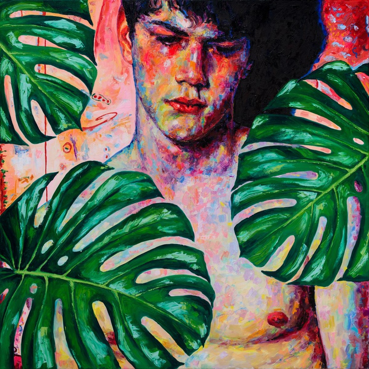 Sad Boy with Monstera Leaves - Image 0