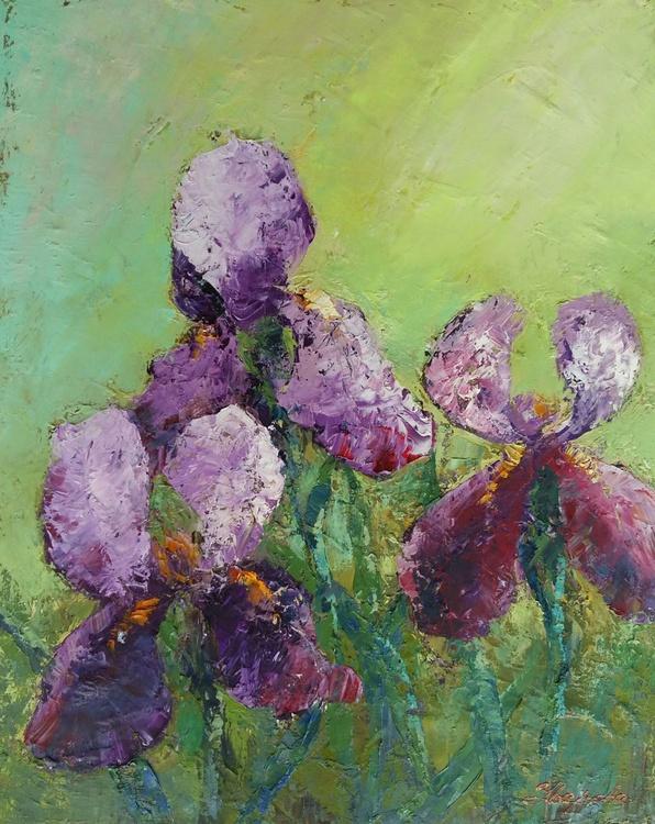 Irises, 40x50 cm, original oil painting, FREE SHIPPING - Image 0