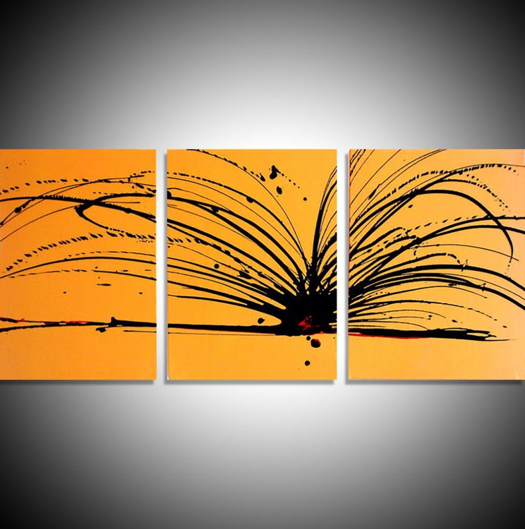 """triptych yellow and black original painting abstract  wall canvas art """"Buttercup Chaos"""" 20 x 48 inches 3 other sizes available - Image 0"""