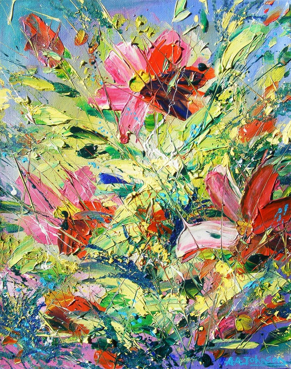 "Oil painting of flowers - ""Higher Vibration"" - Image 0"