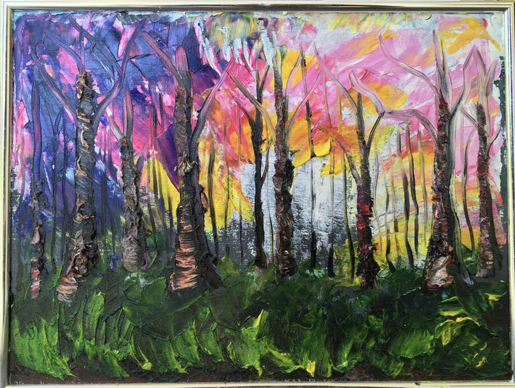 Stained Glass Primeval Winter Forest #2 - Image 0