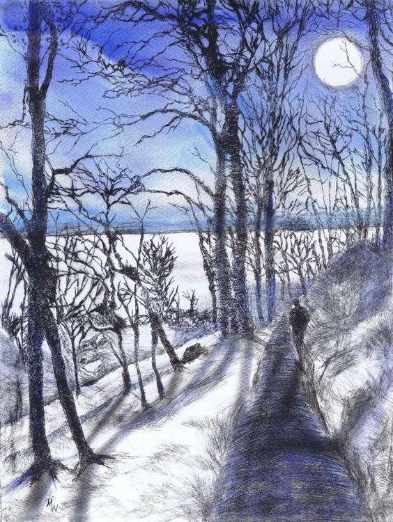 Moonlit Walk to the Sea (framed) - Image 0