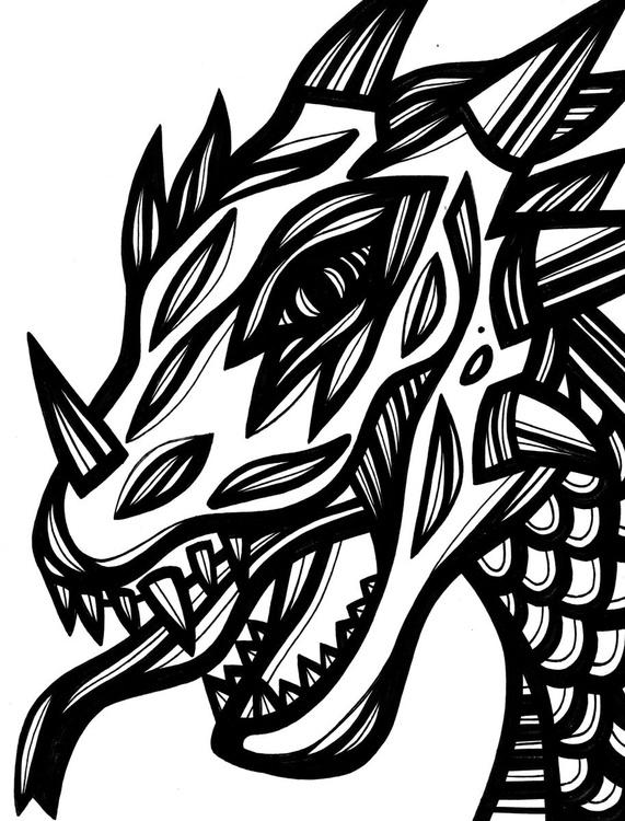 Fierce Dragon Original Drawing - Image 0