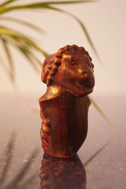 Wood decor art carving sculpture , sheep , wood art sulpture , wood art in houseware , home decor - Image 0