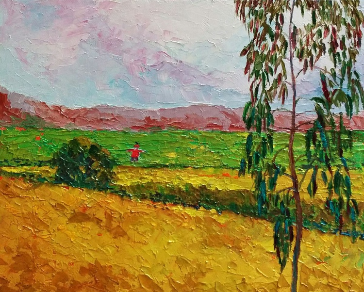 """Landscape countryside """"The scarecrow and the crow"""" - Image 0"""