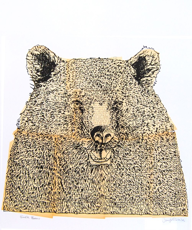 Bearfaced screenprint with vintage book pages LAST ONE! - Image 0