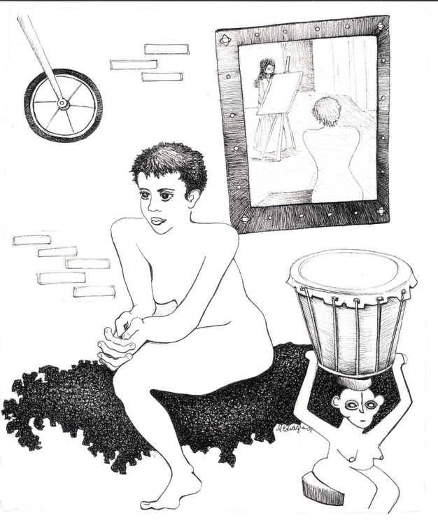 Jessica with African Monkey Drum, Original Pen & Ink Drawing - Image 0