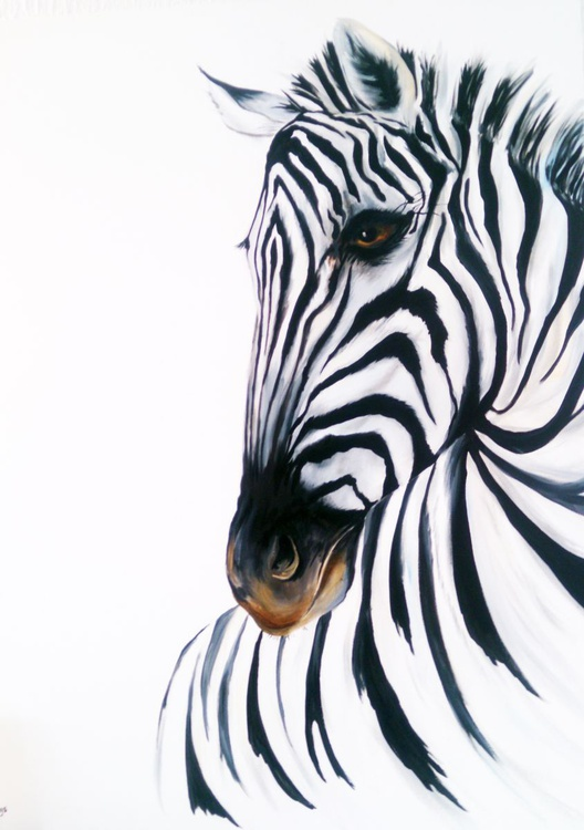 Zebra on huge canvas 30 x 40 inches - Image 0