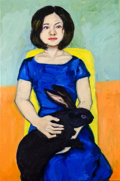 Girl with Black Rabbit - Image 0