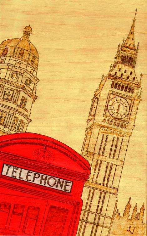 Hello London - historical UK architecture pyrography painting - Image 0