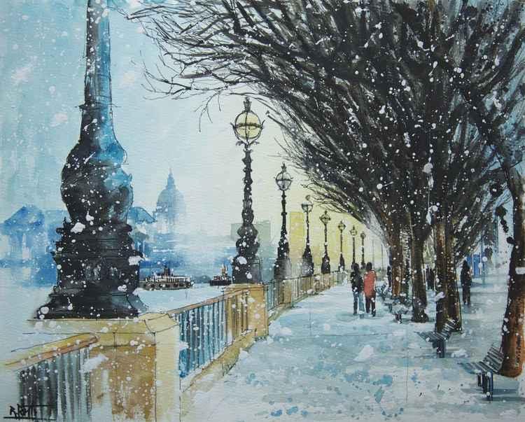 Snow in London (bankside)