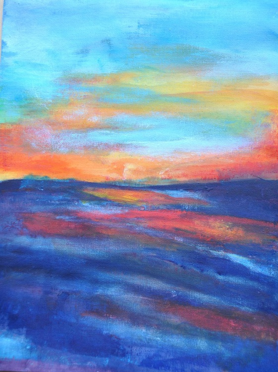 Acrylic Abstract Landscape Painting - Seascape Sunset #2 Acrylic on Canvas Paper - Image 0