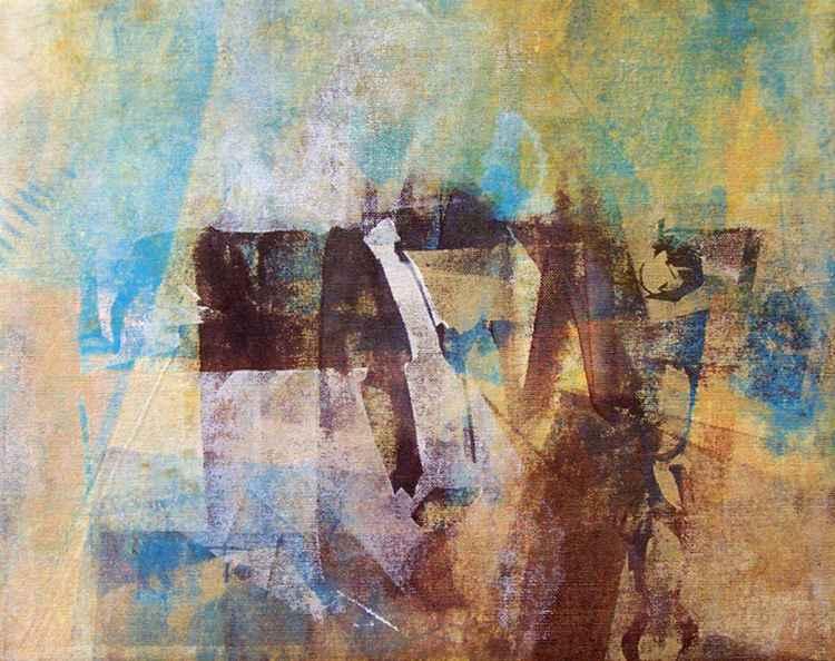 Beach Hut Series 5 {Screen print on canvas}