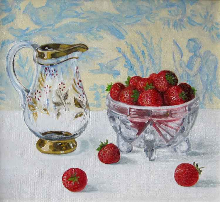 Glass jug and Strawberries -