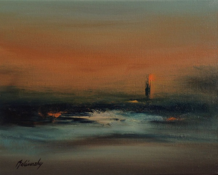 For the Sake of Lost Souls - 24 x 30 cm, abstract landscape oil painting in muted earth tone colours - Image 0