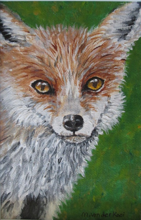 """""""FOXY"""", 10x15cm acrylic painting floating in a white frame - Image 0"""
