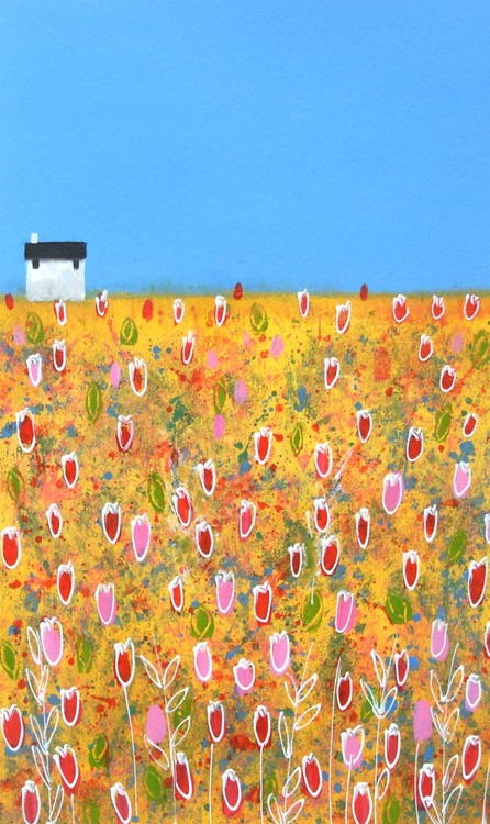 White Cottage with Red and Pink Tulips - Image 0